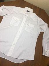 Wrangler Western Shirt Pearl Snap Mens Long Sleeve White Size L Rockabilly USA