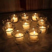 2-12X Clear Glass Votive Pillar Candle Tea Light Holder Wedding Party Decoration