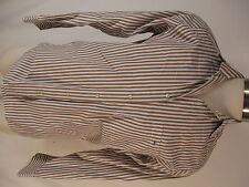 Lacoste Mens Brown Stripe Long Sleeve Cotton Shirt size 40 M