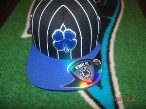 NEW Black Clover Royal Blue Flat Stripe #4 Hat Live Lucky Black Cap Flex Fit S/M