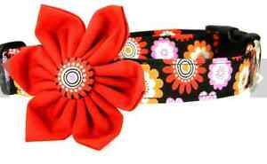 Red Pink Orange Speckle Blooms Dog Collar and Flower Set Small 13 inch