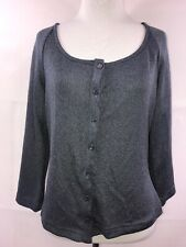 ECRU Womens Blue Gray Shine 3/4 Sleeve Button Up Cardigan Size M