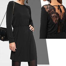 WOW Kleid Kleines Schwarzes Gr.34/36 Stretch schwarz sexy Spitze Rücken Schlitz