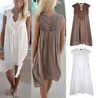 Damen BOHO Spitze Kleid Sommerkleid Minikleid Strandkleid Freizeit Party Urlaub