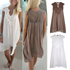 Womens Sleeveless Party Tops Loose Summer Beach Lace Embroidery BOHO Dress UK