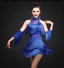 Mujeres Latino Salsa Cha Cha Tango Salón de Baile Danza Vestido Disfraz de etapa flecos Slim