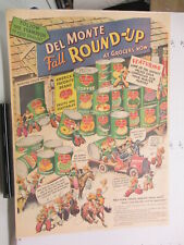 newspaper ad 1940s DEL MONTE pineapple peach tuna sardines canned WWII ROUND UP