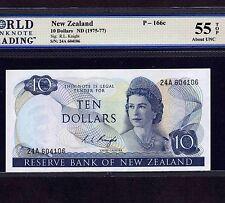 New Zealand, 10 Dollars 1975, P-166c, AU 55 TOP * Queen Elizabeth *