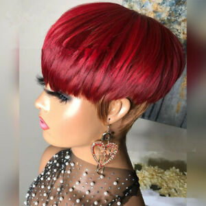 Pixie Cut Wine Red Brown Mixed Ombre Wig With Bangs For Women Synthetic Hair Wig
