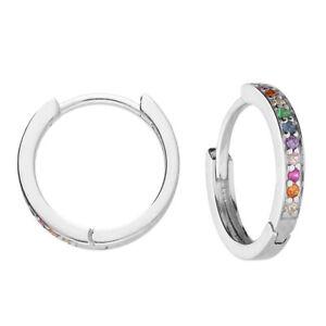 Sterling Silver Rainbow Sapphire Huggie Hoop Earrings