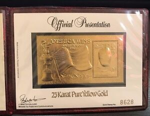 Solomon Islands- 1987 America's Cup Winner Gold Stamp, Signed by Dennis Cooper