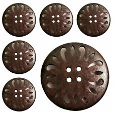75Pcs Wholesale Wooden Dark Brown Buttons with 4 holes 25mm / 1'' ( 40 L )