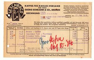 Facture Café Thé Cacao Expédition Georg Schrader & Co Bremen 1934 ! (D5