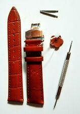 Bracelet Montre Cuir Marron à boucle déployante dorée. Neuf. 20 mm