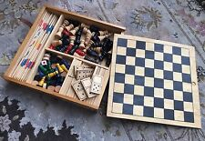 VINTAGE spagnolo in Legno Multi Gioco Set compreso scacchi, dama & DOMINO