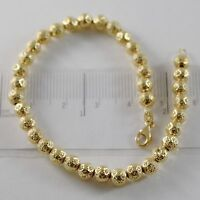 18K YELLOW GOLD BRACELET WITH FINELY WORKED SPHERES 5 MM BALLS MADE IN ITALY