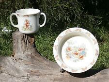 Royal Doulton Bunnykins Two Handle Mug and Rimmed Bowl, Cricket Match, Picnic