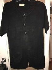 Sonoma Women Size XL Black Short-Sleeve Long Cardigan w/ 3 Buttons & Pockets EUC
