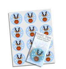 12 Rudolph Reindeer Christmas Cupcake Decoration Cake Toppers Pre Cut 40mm Xmas