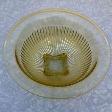 "Federal Depression Glass Amber Yellow Mixing Bowl Ribbed Kitchenaid Sunbeam 10"""
