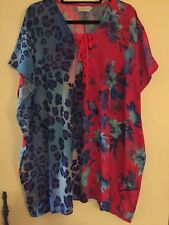 Indikah S/M Vibrant Floral Print Blue & Pink Lace Up Caftan Cover-Up , as New