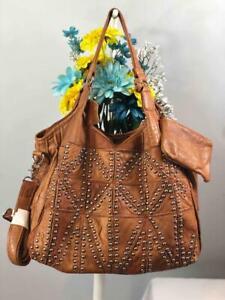 AmeriLeather Spirit Brown Distressed Leather Studded Shoulder Tote Bag