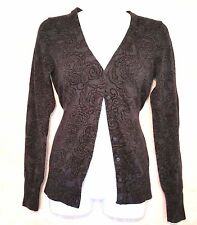 Gap Womens Cardigan Gray Black Floral Button Top Lightweight Sweater Small