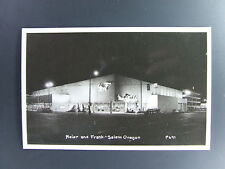 Salem Oregon OR Meier & Frank Store At Night Real Photo Postcard RPPC 1950's