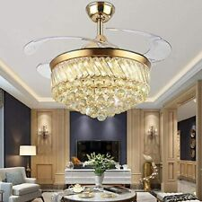 Luxury Crystal Remote Ceiling Fan Light  LED Retractable Blades Chandelier Decor
