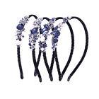 Ladies Blue Rhinestone Flower Crystal Hair Hoop Prom Headband Hairband Crown