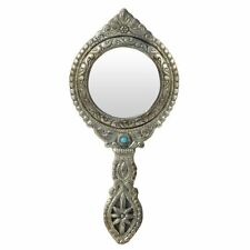 Cosmetic Make Up Table Tabletop Stand Vanity Oxidized  Hand Held Antique Mirror