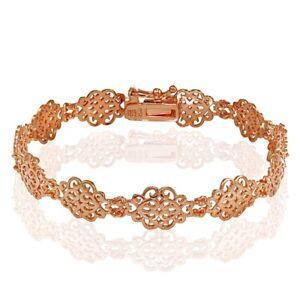Polished Vintage Filigree Swirl Bracelet in Rose Gold Plated Sterling Silver