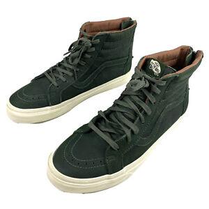 VAN'S SK8-HI Top Rear Zip Green Leather Skate Shoes Men 10.5 Women 12