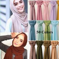 Women Plain Chiffon Wrap Shawl Pashmina Scarves Long Scarf Muslim Hijab