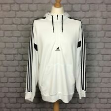 ADIDAS MENS VARIOUS SIZES WHITE MATCH 1/2 ZIP HOODIE 3-STRIPES HOODY RRP £45