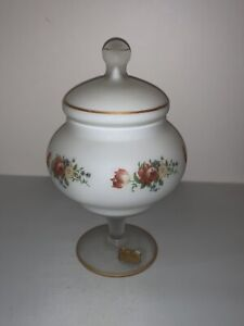 Vintage Norleans Frosted Satin FOOTED Jar w/Lid Hand Painted Flowers MINT ITALY