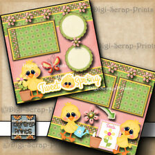 TWEET SPRING ~ 2 premade scrapbooking pages paper piecing layout ~ BY DIGISCRAP