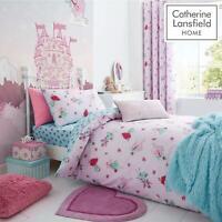 Catherine Lansfield Kids Girls Fairies Pink Duvet Set Reversible Bedding Curtain