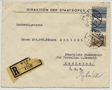 ÖSTERREICH 1934 REKO-AUSLANDSBRIEF, WIEN nach KARSBAD (C.S.R)