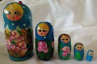 Vintage Russian Nesting (5) Dolls Wood Stacking Matryoshka Hand Painted