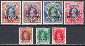INDIA 1937-39 KGVI SERVICE OFFICIAL SET COMPLETE T0 10r SCOTT O97-O103 MLH