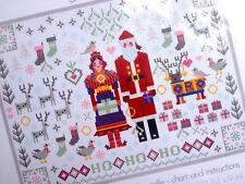 CROSS STITCH KIT SANTA MRS CLAUS Christmas Folkies Ho Ho Ho RIVERDRIFT