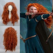 Princess MERIDA BRAVE Red Curly Cosplay Wig + Free Wig Cap