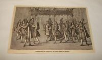 1885 magazine engraving ~ CORONATION OF FRIEDRICH, King of Prussia