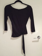 CACHE BLACK SILK 3/4 SLEEVE LADIES TIE EVENING TOP - SIZE XS - PRE-OWNED