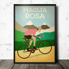 maglia rosa pink jersey poster cycling giro tour italy vintage marco pantani