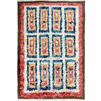 Thick-Plush Geometric Modern Moroccan Shaggy Hand-Knotted Area Rug 4'x6' Carpet