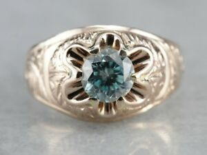 Mens 1.25cts Blue Zircon Ring Sterling Silver 10K Yellow Gold Plated Silver Ring