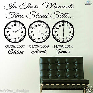 In These Moments Time Stood Still Wall Sticker, Bedroom, Kitchen, Living Room,