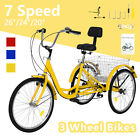 "20/24/26"" 7Speed Adult Tricycle 3-Wheel Trike Cruiser Bike w/Basket for Shopping"